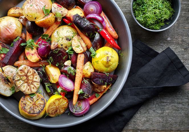 51756732 - various roasted fruits and vegetables, top view